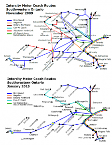 Intercity Motor Coach routes in Ontario in 2009 and 2015.